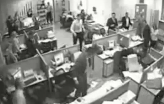 woker throws computer at co-worker